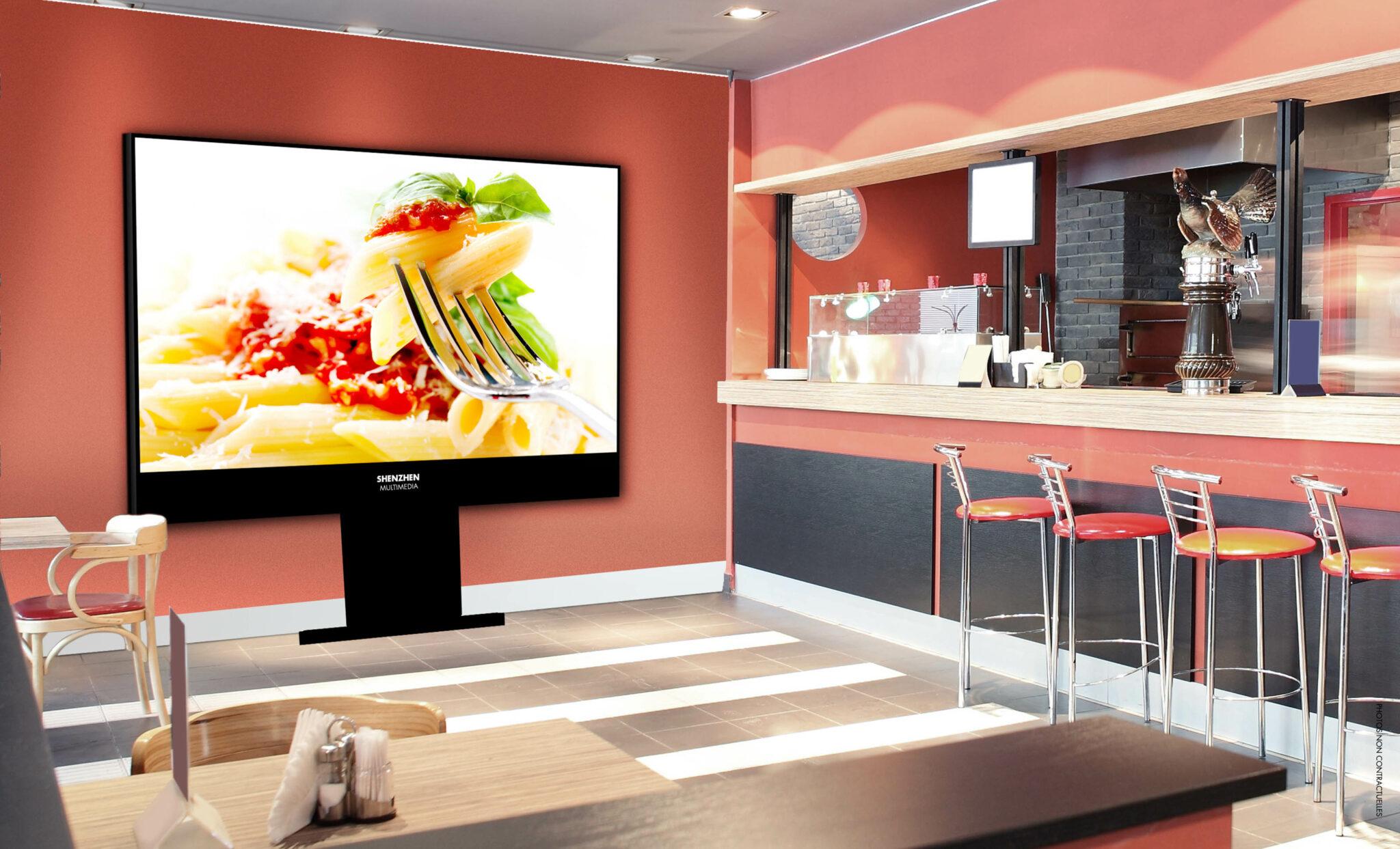 Cet afficheur LED professionnel est utile pour afficher des menus de restaurants ou pour diffuser des informations ou des vidéos dans les halls d'entrées, sièges sociaux et ou autres.