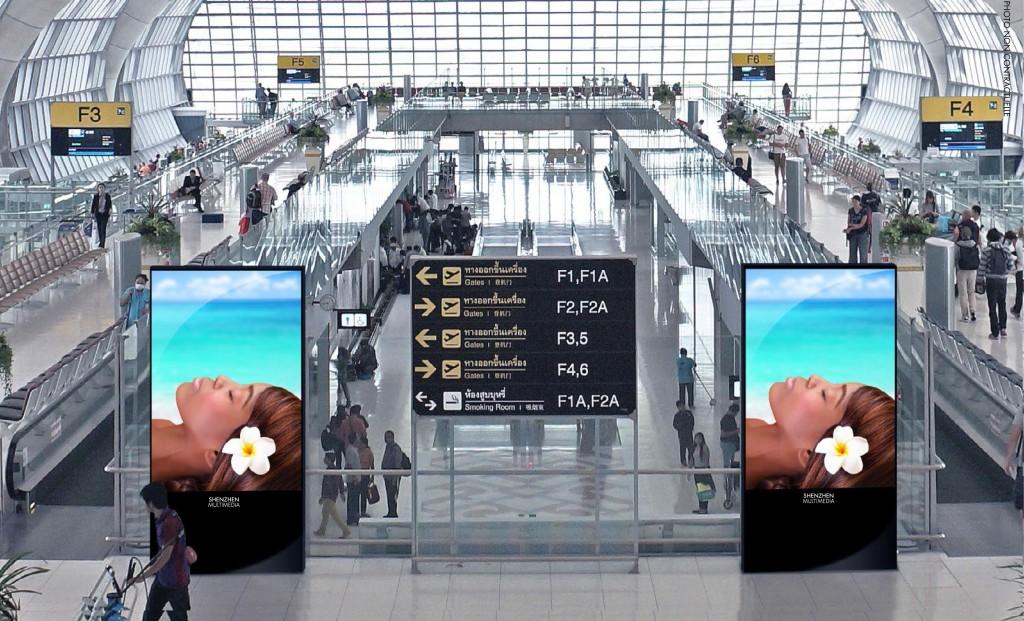 publicité affichage dynamique pour hall d'aéroport
